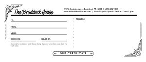 Eatery Gift Certificate
