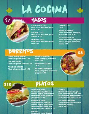 Mexican Cocina Menu