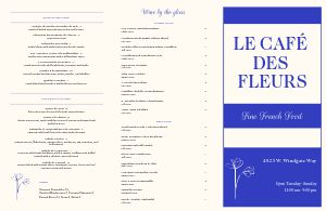 French Fleurs Folded Menu