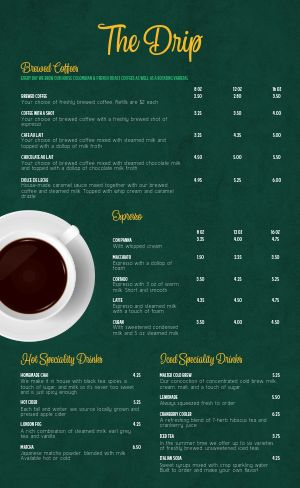 Emerald Coffee Menu