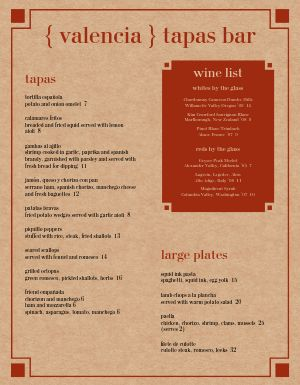 Tapas Bar Menu