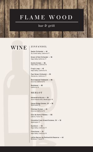 Rustic Wine List Menu