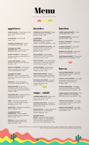 Mexican Lounge Menu