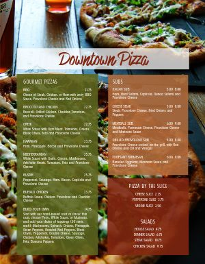Downtown Pizza Menu