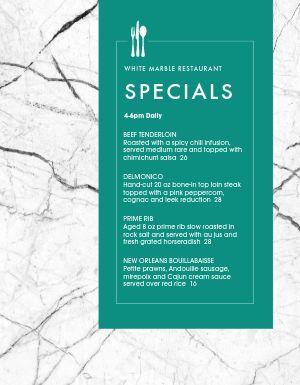 Fine Dining Specials Menu