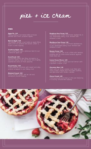 Purple Dessert Menu