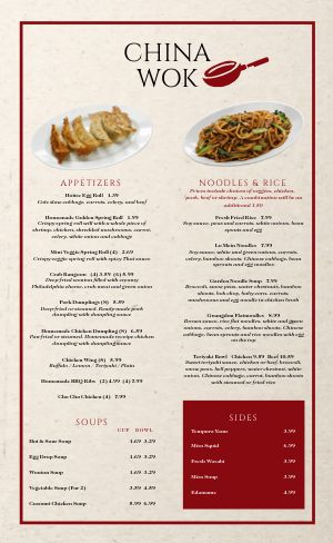 Chinese Dining Menu
