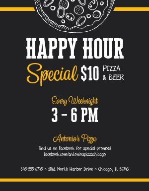 Pizza Happy Hour Flyer