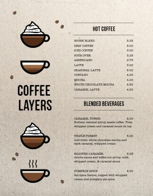 Organic Coffee Menu