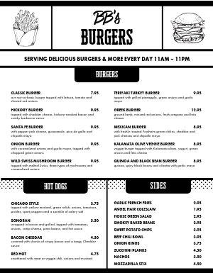 Roadside Burger Menu