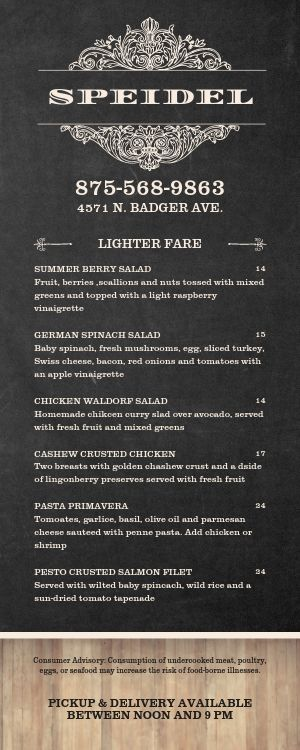 German Lite Takeout Menu