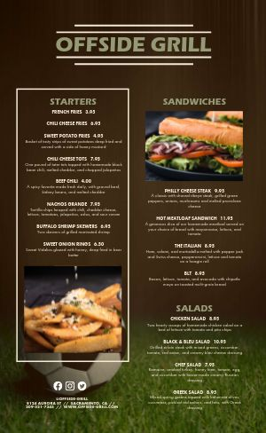 Soccer Sports Bar Grill Menu