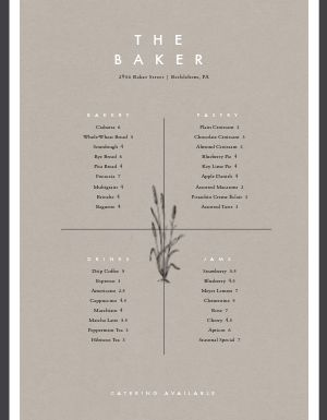 Upscale Bakery Menu