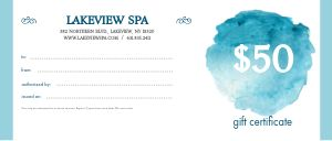 Spa Voucher Gift Certificate