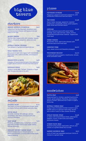 Sports Bar Tavern Menu