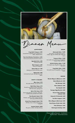 Green Japanese Menu