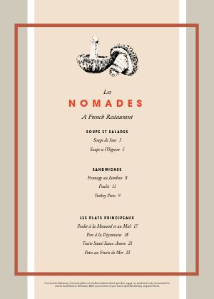 Beautiful French A4 Menu