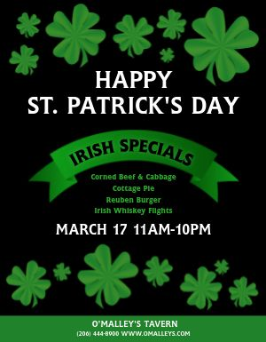 St Patricks Day Restaurant Flyer