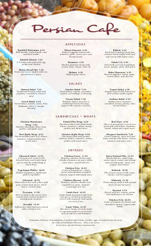 Middle Eastern Fruits Menu