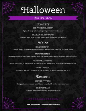 Halloween After Dark Menu