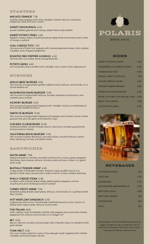 Full Pub Menu