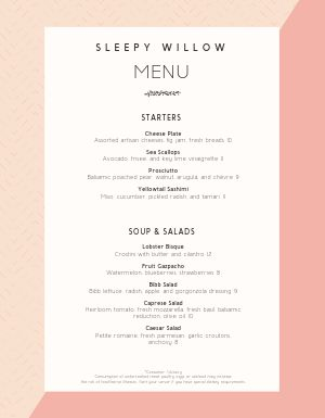 Foodie Fine Dining Menu