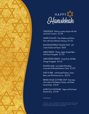 Golden Hanukkah Menu