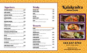 Indian Eatery Takeout Menu