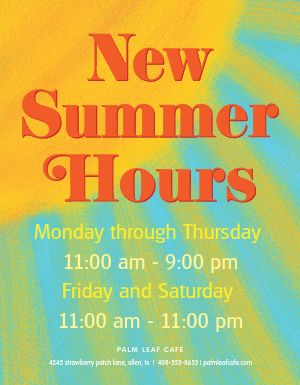 New Summer Hours Flyer