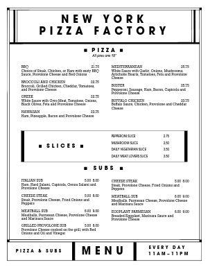 Plain Pizza Menu