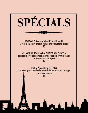 Specialty French Menu