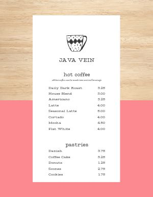 Short Coffee Menu