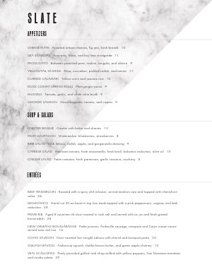 Dual Color Fine Dining Menu