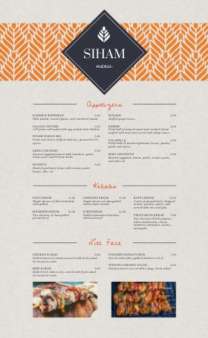 Elegant Middle Eastern Menu