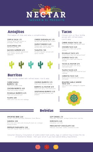 Flowery Mexican Menu