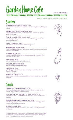 Garden Lunch Cafe Menu