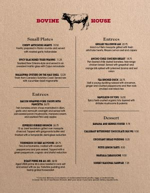 Steakhouse Quadrant Menu