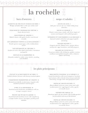 Straightforward French Menu