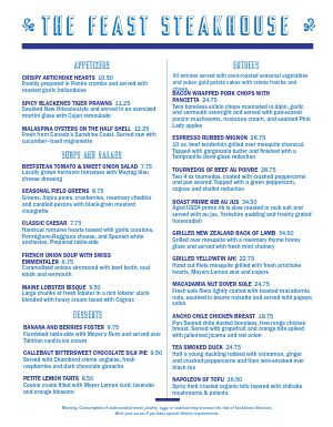 Blue Steakhouse Menu