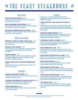 Blue Steakhouse Menu