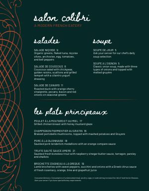Trendy French Menu