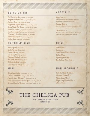 London Pub Menu