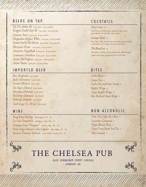 London Pub Menu