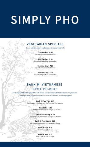 Pho Vietnamese Menu Example
