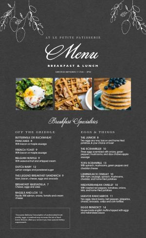 French Waffle Menu