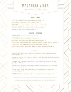 Fine Dining Lounge Menu