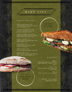 Vegan Sandwich Menu