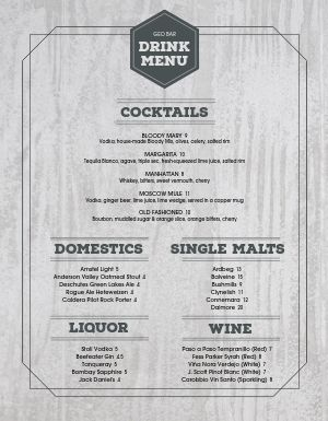 Woodgrain Bar Menu