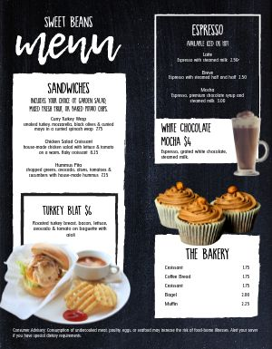 Cafe Morning Snack Menu