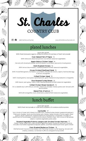 Country Club Catering Menu